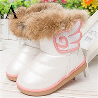2016 New Winter Girls Shoes Baby Boots Rabbit Fur Boots Pu Leather Baby Shoes Snow Kids