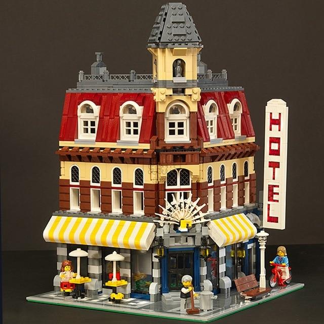 DHL  15002 2133Pcs Creators City Cafe Corner Model Building Kits Blocks Bricks Compatible legoed Toys For Children 10182