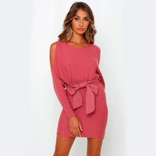 S-XL Solid Color Fashion Dew shoulder Long Sleeve Dresses Loose Lace-up Knitted Dress For Women Autumn Winter 2019 New