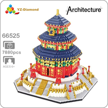 World Famous Architecture China Beijing The Temple of Heaven 3D Model Mini DIY Diamond Building Blocks Bricks Toy Gift