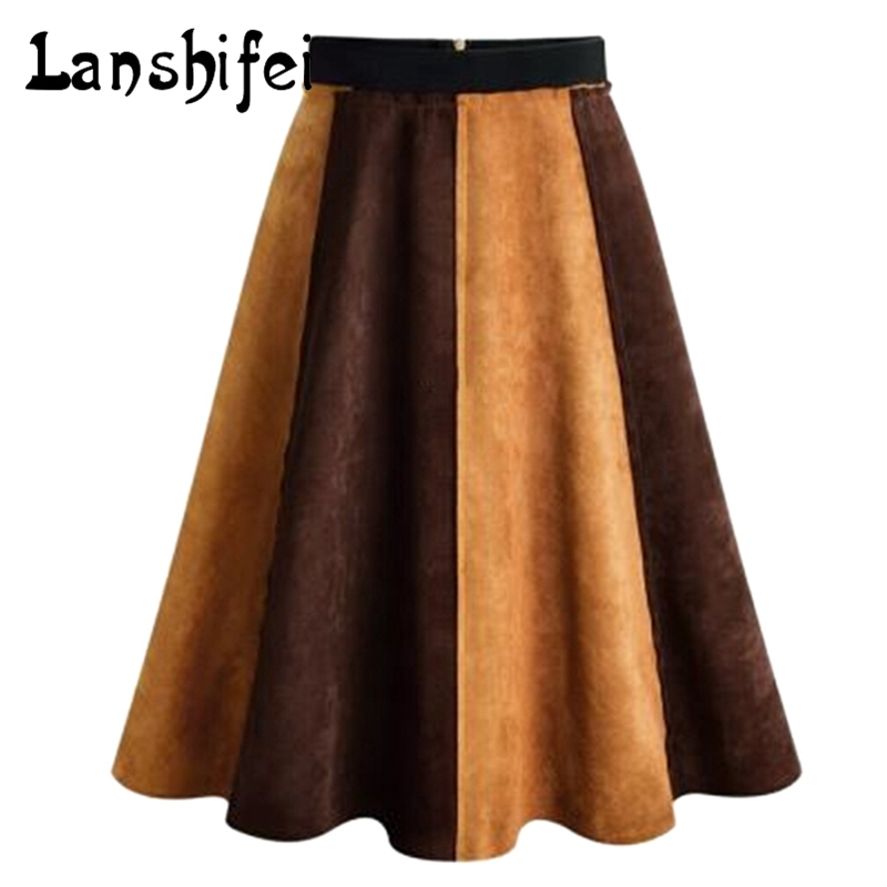 Patchwork Suede Skirts High Waist slim A-line Skirt Fashion 2017 Autumn Spring Retro Knee-length Skirt Color Block A-Line Skirt