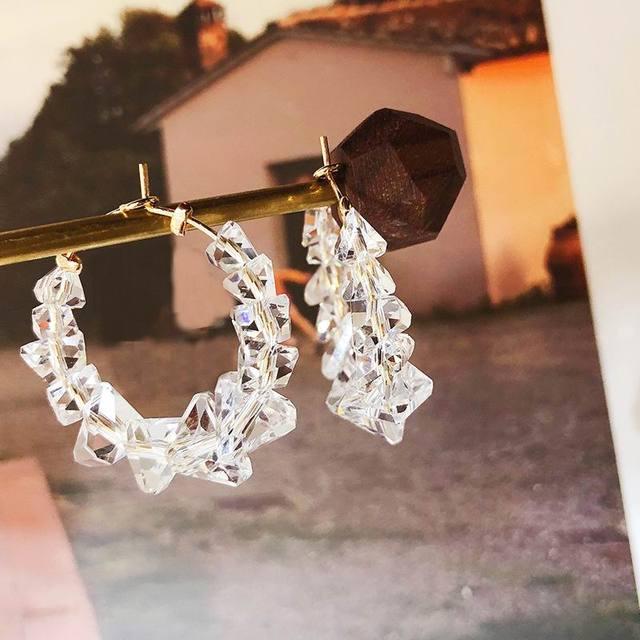 Korean Crystal Hoop Earrings For Women Girls Simple Clear Round Circle Earring 2019 Fashion Jewelry Wholesale Bijoux Cute
