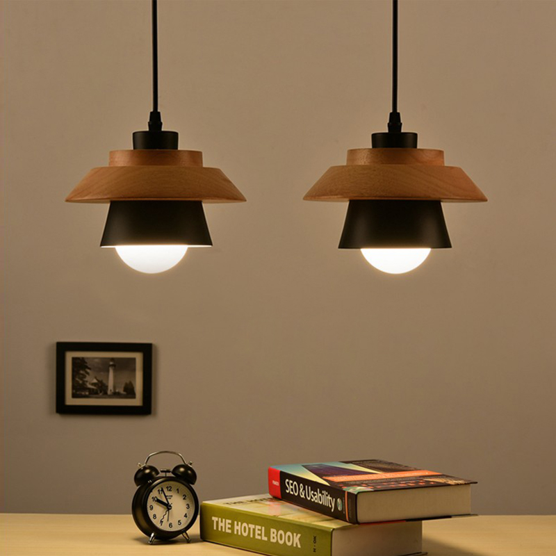 japanese simple wooden pendant lights e27 aluminum wood whiteblack lamp household decorative