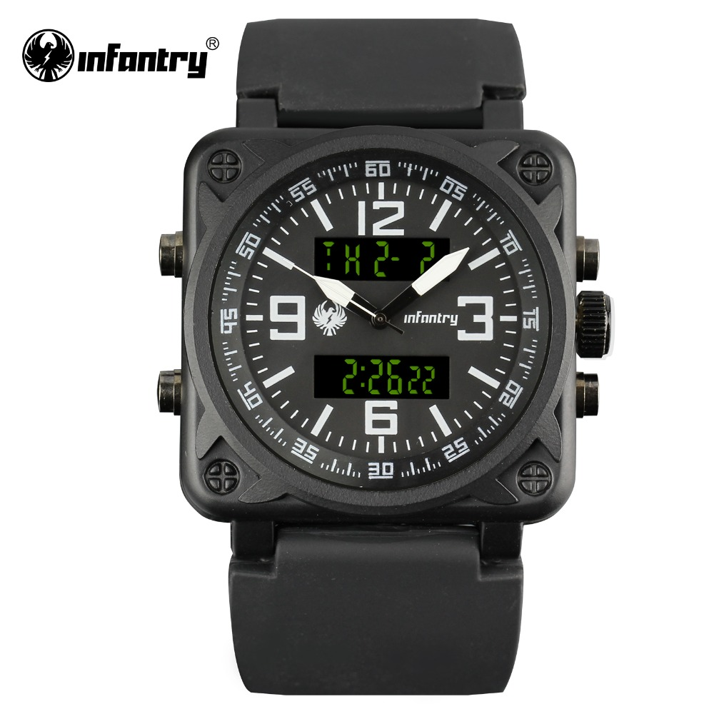 INFANTRY Mens Quartz Watches Top Brand Luxury Sport Digital Male Clock Square Face Dual Time Military Watch Relogio Masculino splendid brand new boys girls students time clock electronic digital lcd wrist sport watch