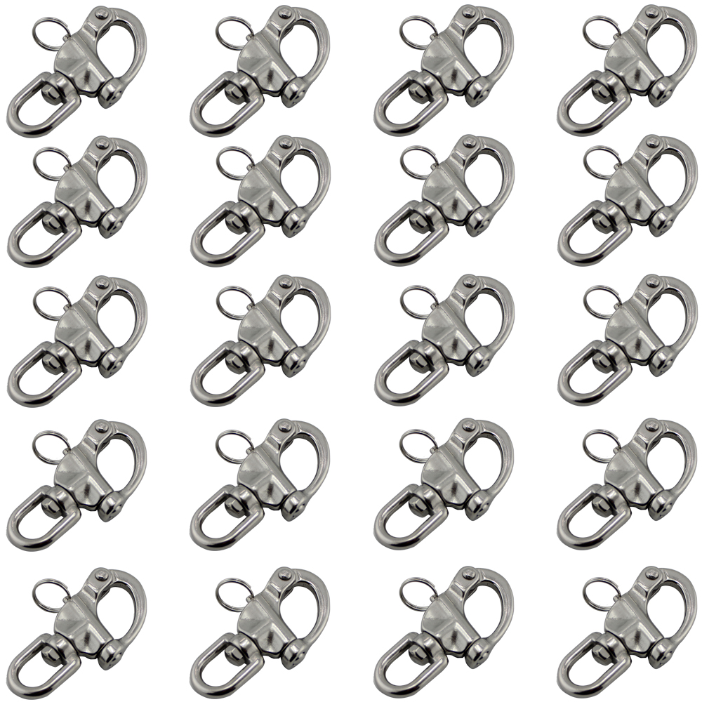 70mm Stainless Steel Eye Swivel Snap Shackle Quick Release Eyelet Snap Shackles with D Ring Marine Boat Rigging Hardware 20pcs