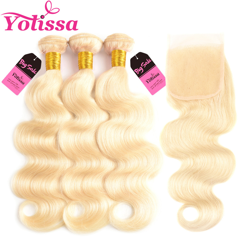 Yolissa Hair 613 Blonde Bundles With Closure Brazilian Body Wave Blonde Bundles 10-24 Inch 100% Human Remy Hair Extension image