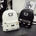 Hot Cat Backpack Black Preppy Style School Backpacks Funny Quality PU Leather Fashion Women Shoulder Bag Travel Back bag