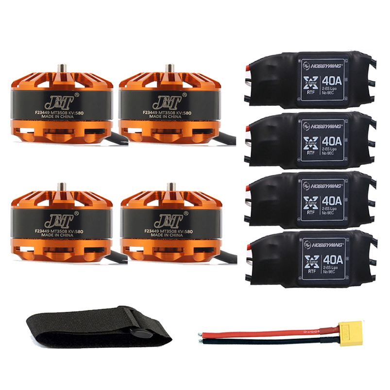 DIY Drone Combo 3508 580kv Motor with Hobbywing XRotor 40A Brushless ESC + XT60 Connector Fastening Tape for 4-Axis Quadcopter jmt 4pcs mt3508 380kv 580kv motor disk motor for multi axis aircraft diy quadcopter drone