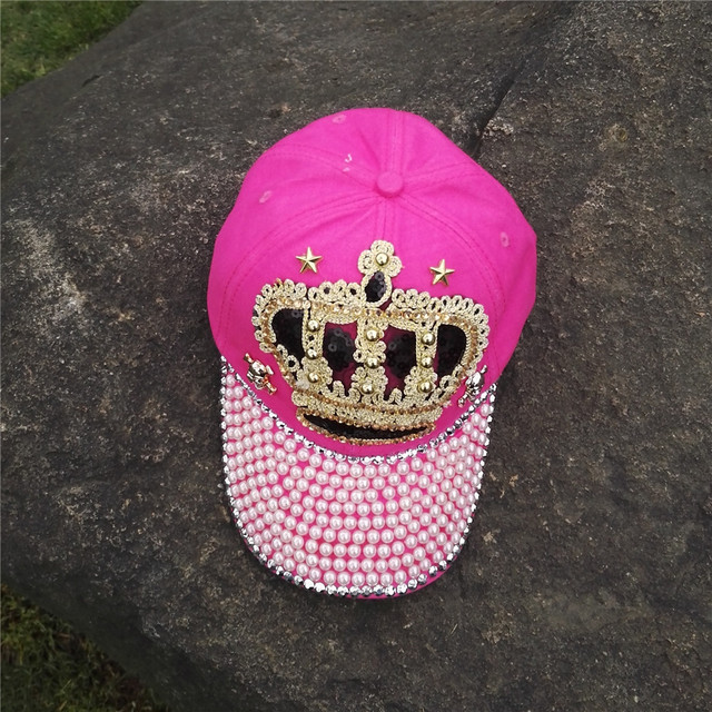 women autumn PINK CROWN cotton denim baseball caps gilrs diamond bling  bling snapback hat 1fe88713a7fc