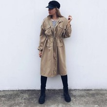 цена на Spring Fall New Solid Long Trench Turn-Down Collar Casual Lantern Long Sleeve Outerwear Pockets Lace Up Belt Loose Coat