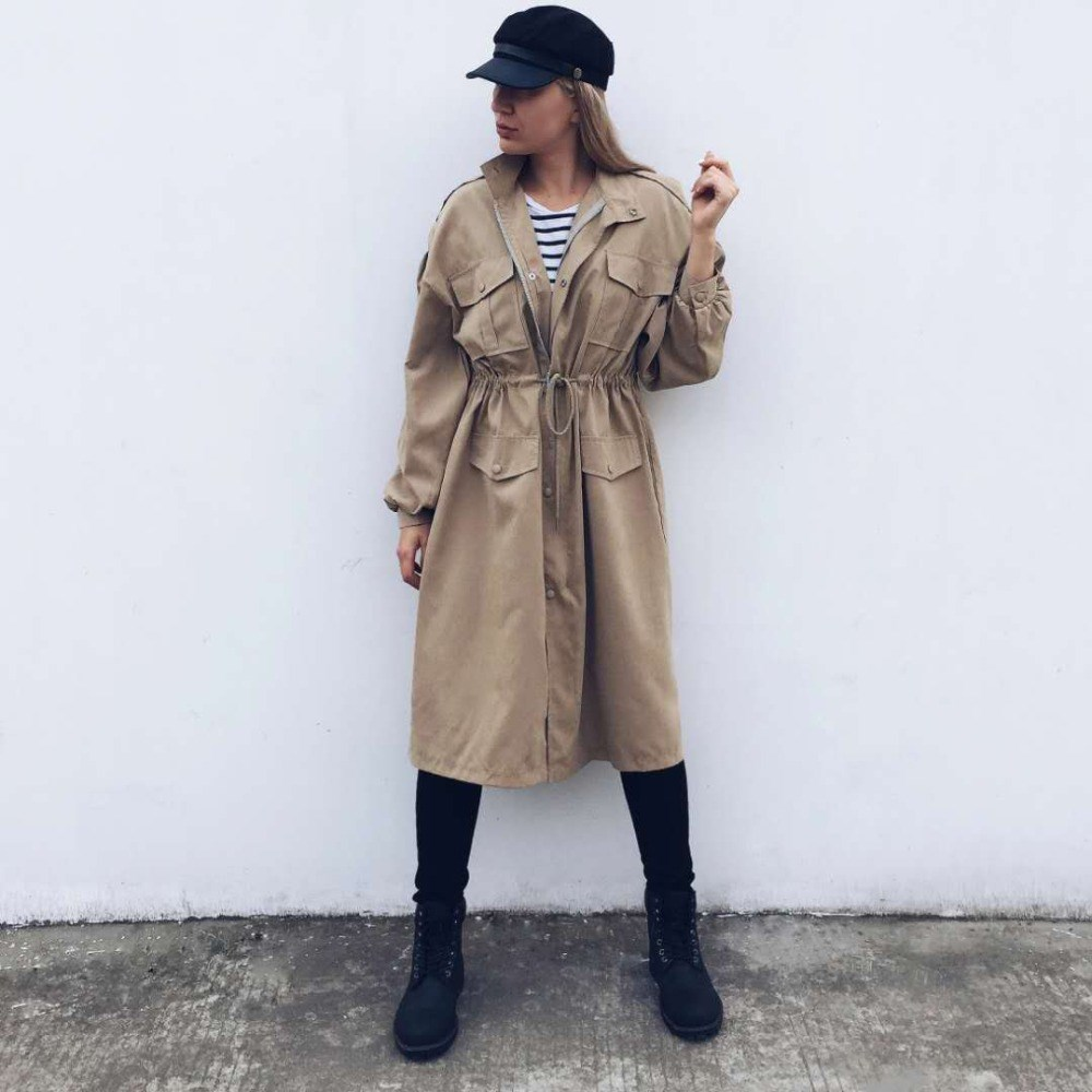 Spring Fall New Solid Long   Trench   Turn-Down Collar Casual Lantern Long Sleeve Outerwear Pockets Lace Up Belt Loose Coat