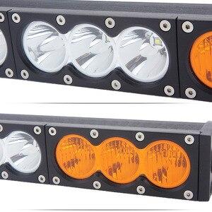 Image 4 - שורה אחת Slim 10 W/Pcs LED עבודה אור בר למשאית טרקטורונים Uaz 4x4 Offroad קרוואן קומבו Beam ענבר לבן אזהרה Barra ערפל אורות