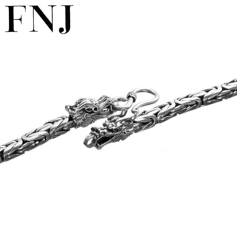 FNJ 925 Silver Dragon Necklace for Women Jewelry Width 4mm 5mm Original S990 Bright Silver Necklace Men stylish plaid pattern 7 5cm width bright orange tie for men