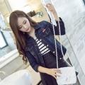 Estilo das senhoras das mulheres de manga longa plus size Fino denim Casaco Outwear nova moda botão de metal jaqueta Jeans de Grandes Dimensões do vintage