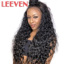 Leeven 14 24 الاصطناعية الدانتيل شعر مستعار أمامي موجة الطبيعية الباروكات مع شعر الطفل للمرأة أسود ألياف مقاومة للحرارة شحن مجاني