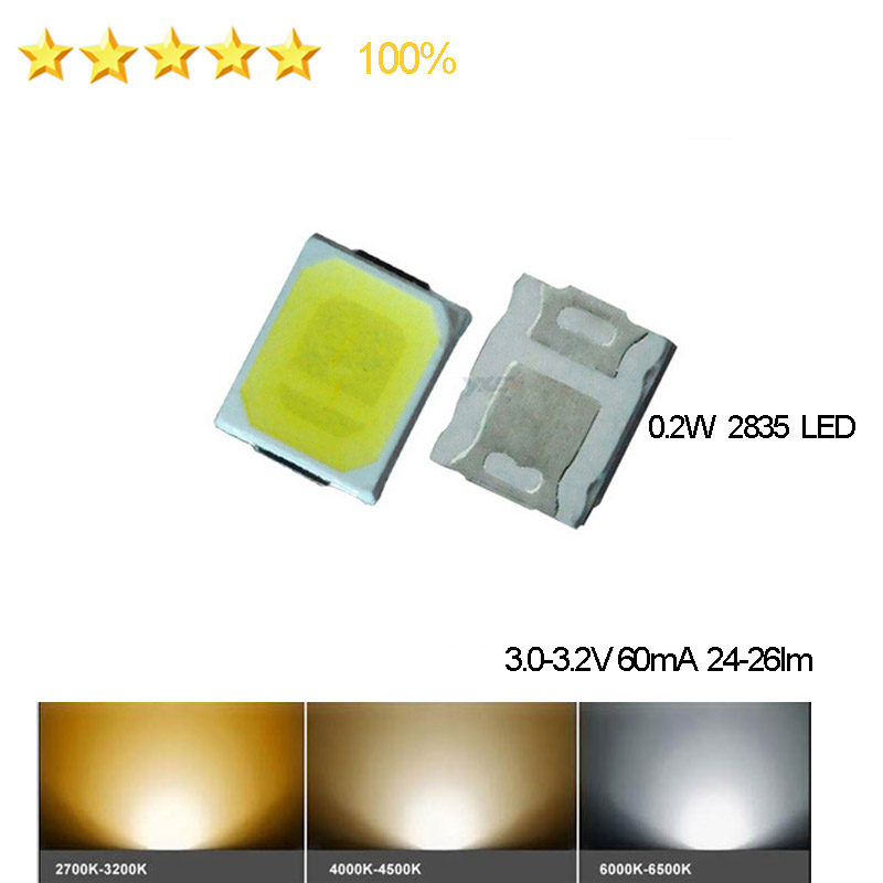 100Pcs Factory Outlets R80 SDM LED 2835 Epistar LED Chip 0.2w 6000k, 120lm/w Free Drop Shipping