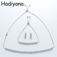 Jewelry Sets HADIYANA Fashion Exquisite Graceful Geometric Choker New Wedding Party Cubic Zirconia TZ8056 Ensemble de bijoux