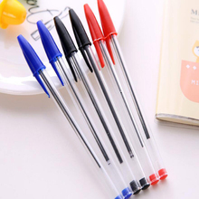 10 pcs/set Creative simple 3 color transparent insert ballpoint pen Student writing stationery Office school