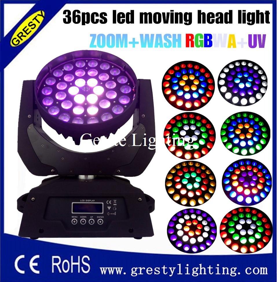 RGBWA + UV 6in1 johtama liikkuva pään zoomaus 36x18w pesuvalo