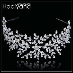 Image 4 - Hadiyana ファッション花嫁王冠の結婚式のティアラジルコン女性ヘアアクセサリーかぶとソフト高級バレッタ BC4702