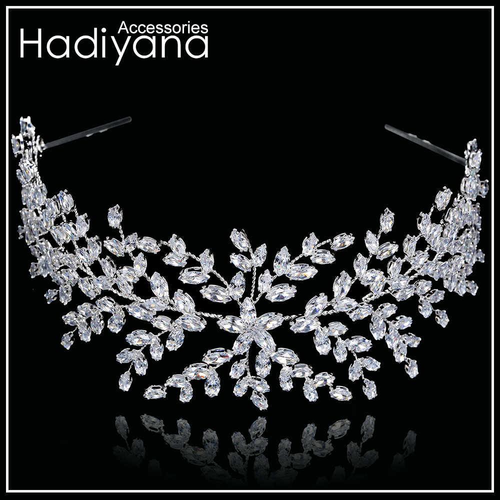 Hadiyana Thời Trang Cô Dâu Thái Cưới Tiaras Với Zircon Nữ Tóc Phụ Kiện Trang Sức Mũ Trụ Cao Cấp Mềm Mại Barrettes BC4702