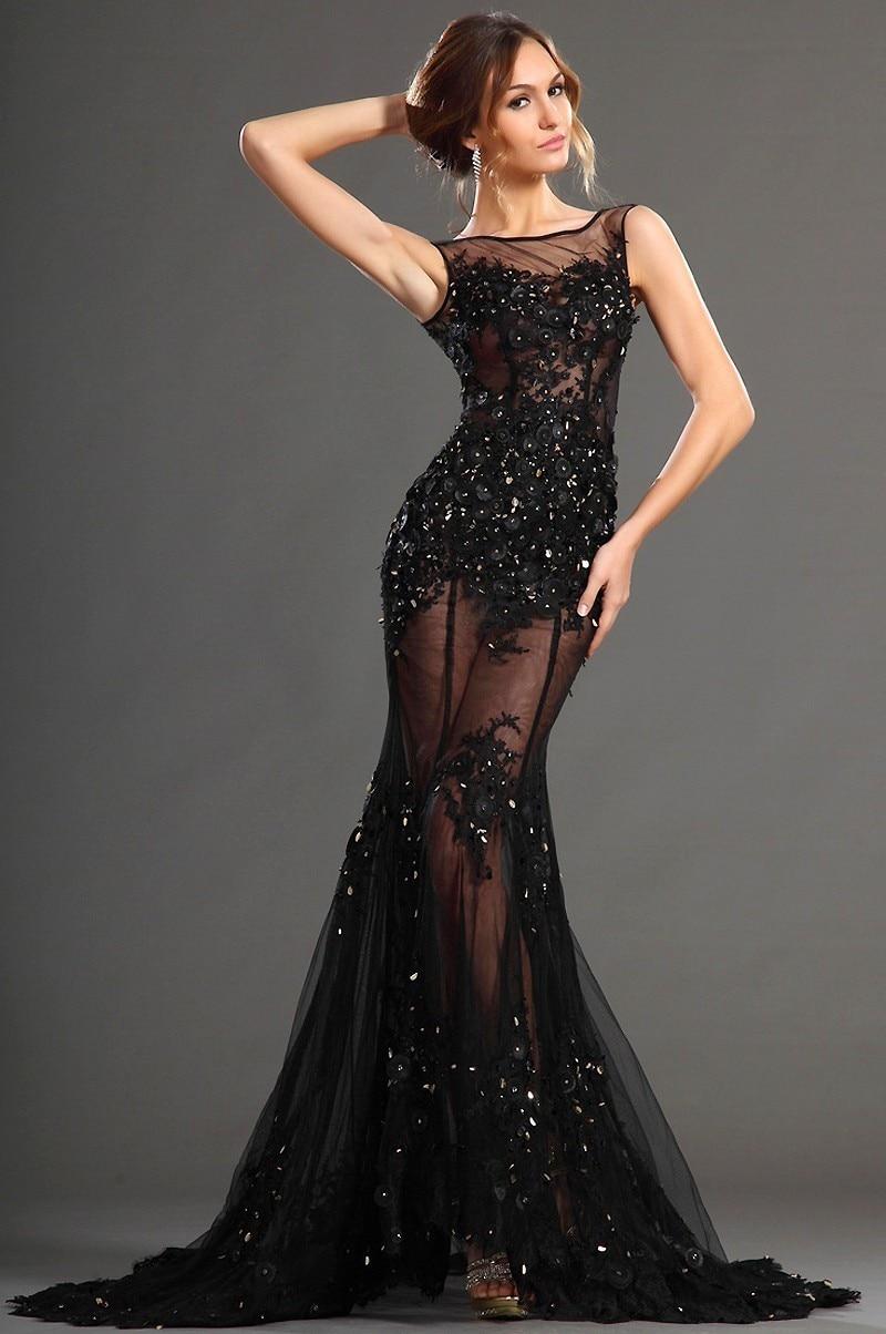 Envío Rápido Negro Sirena Vestido De Noche Cristales Pesados