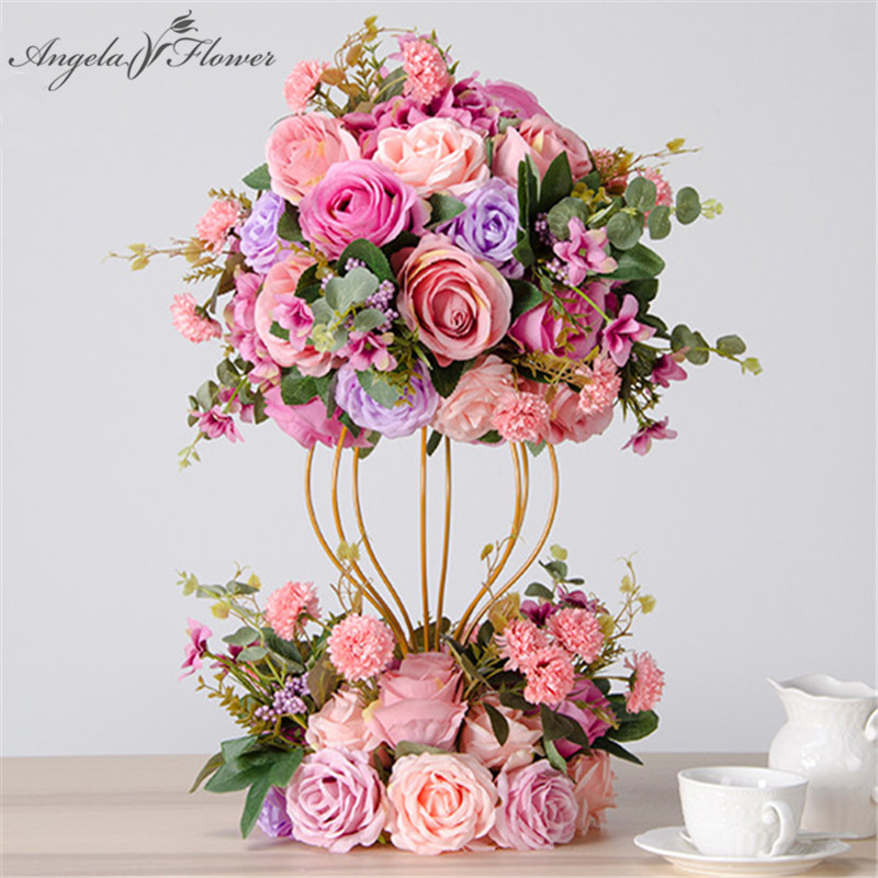 Ev ve Bahçe'ten Yapay ve Kurutulmuş Çiçekler'de Lüks özel düğün dekor yemek masası çiçek topu centerpieces Yol alıntı şakayık gül çiçekler + altın demirden çiçek standı 2 takım'da  Grup 1
