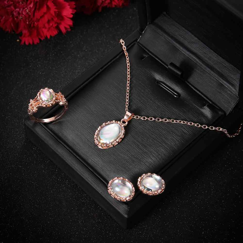 Hot Fashion Women Elegant Engagement Wedding Oval Faux Opal Necklace / Ring / Stud Earrings Set
