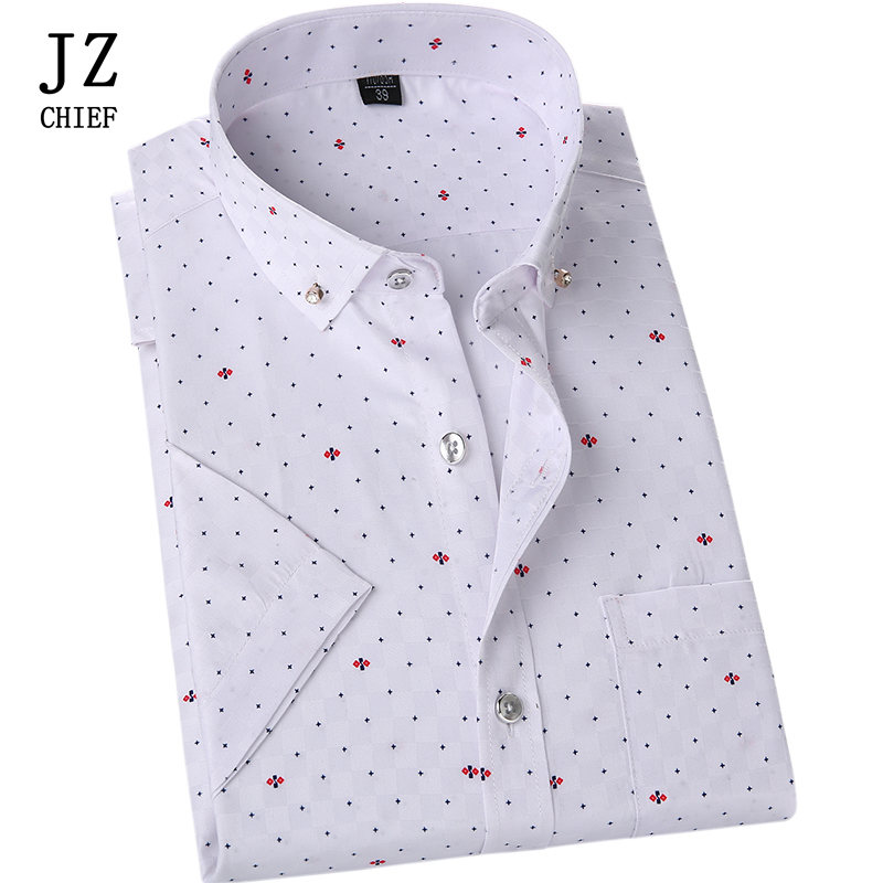 dc7faf1b67 JZ CHIEF Men Casual Slim Fit Social Shirt Polka Dot Print Shirt Custom  Short Sleeve Dress Shirt Floral Business Blouse White Top