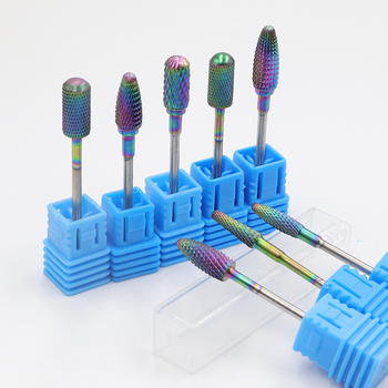 Rainbow Tungsten Round Flame Nail Drill Bit Carbide Milling Cutter Manicure Ceramic Drill Bits Electric Machine Nail Accessories