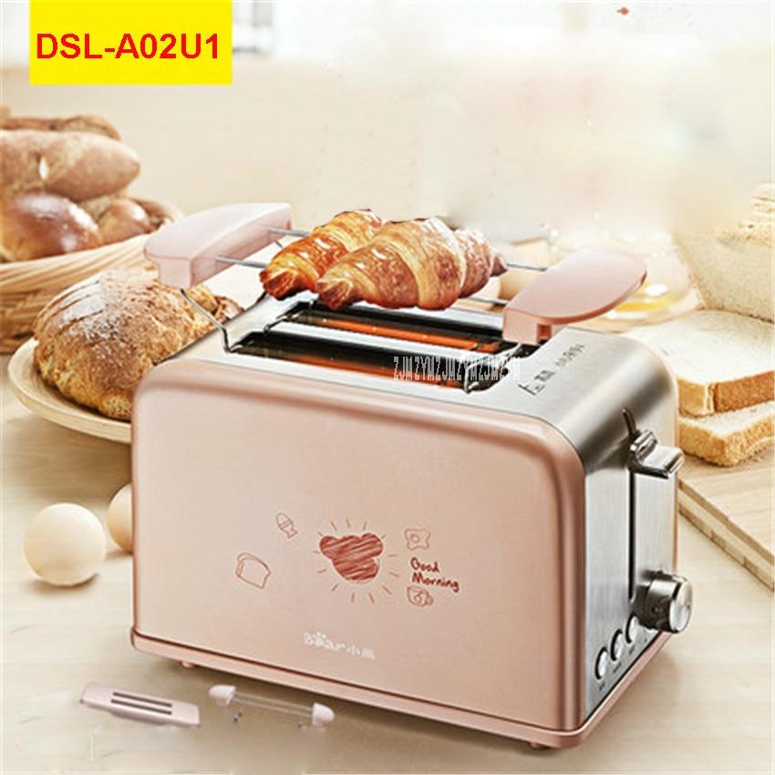DSL-A02U1 220V/50Hz Multi-functional Breakfast Toaster automatic stainless steel 2 Slice Toaster Mini-toaster 680W Toaster Ovens multi functional stainless steel keychain black 2 pcs