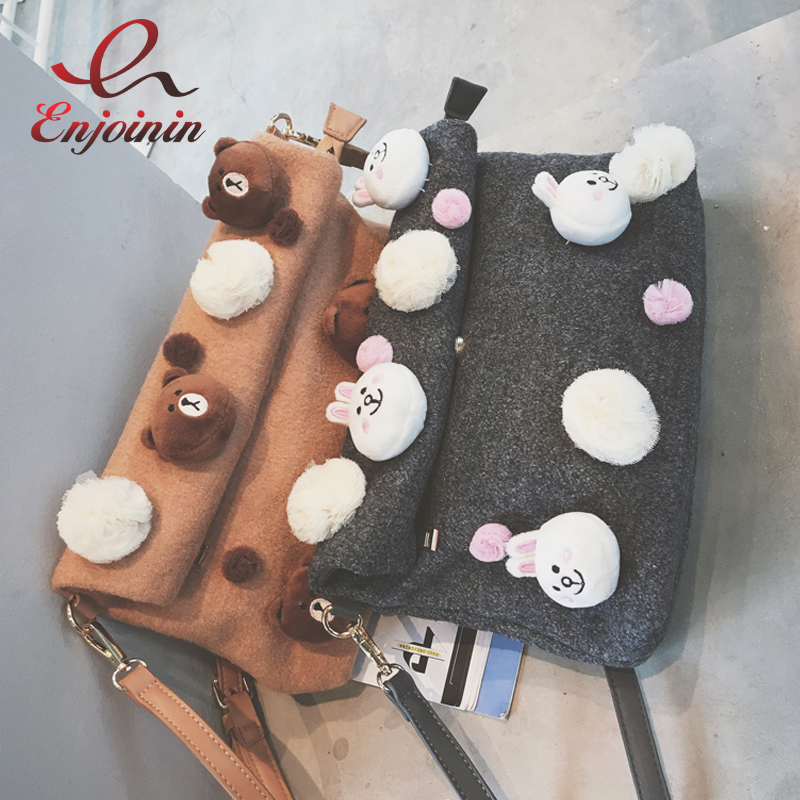 High quality fashion cute cartoon rabbit bear decoration folding clutch bag envelope bag shoulder bag ladies