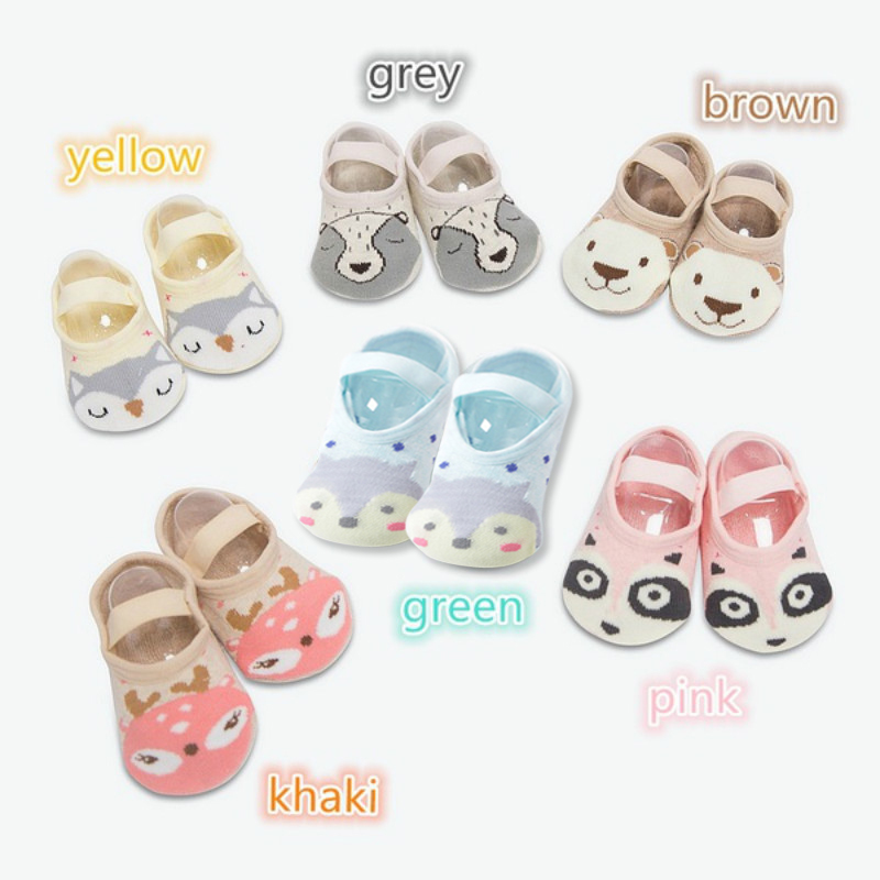 1 Pair Fashion Baby Girls Boys Cute Cartoon Non-slip Cotton Toddler Floor Socks Animal pattern First Walker Shoes for Newborns 6