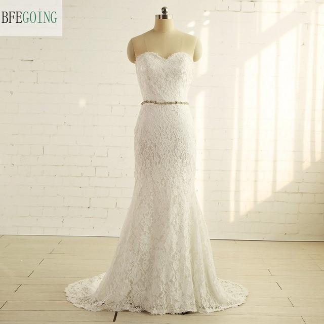 Ivory Lace Floor Length Mermaid/Trumpet Wedding dress Chapel Train ...