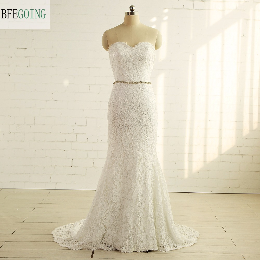 Ivory Lace Sweetheart Floor-Length Mermaid/Trumpet  Wedding Dress Chapel Train  Lace Up Sleeveless