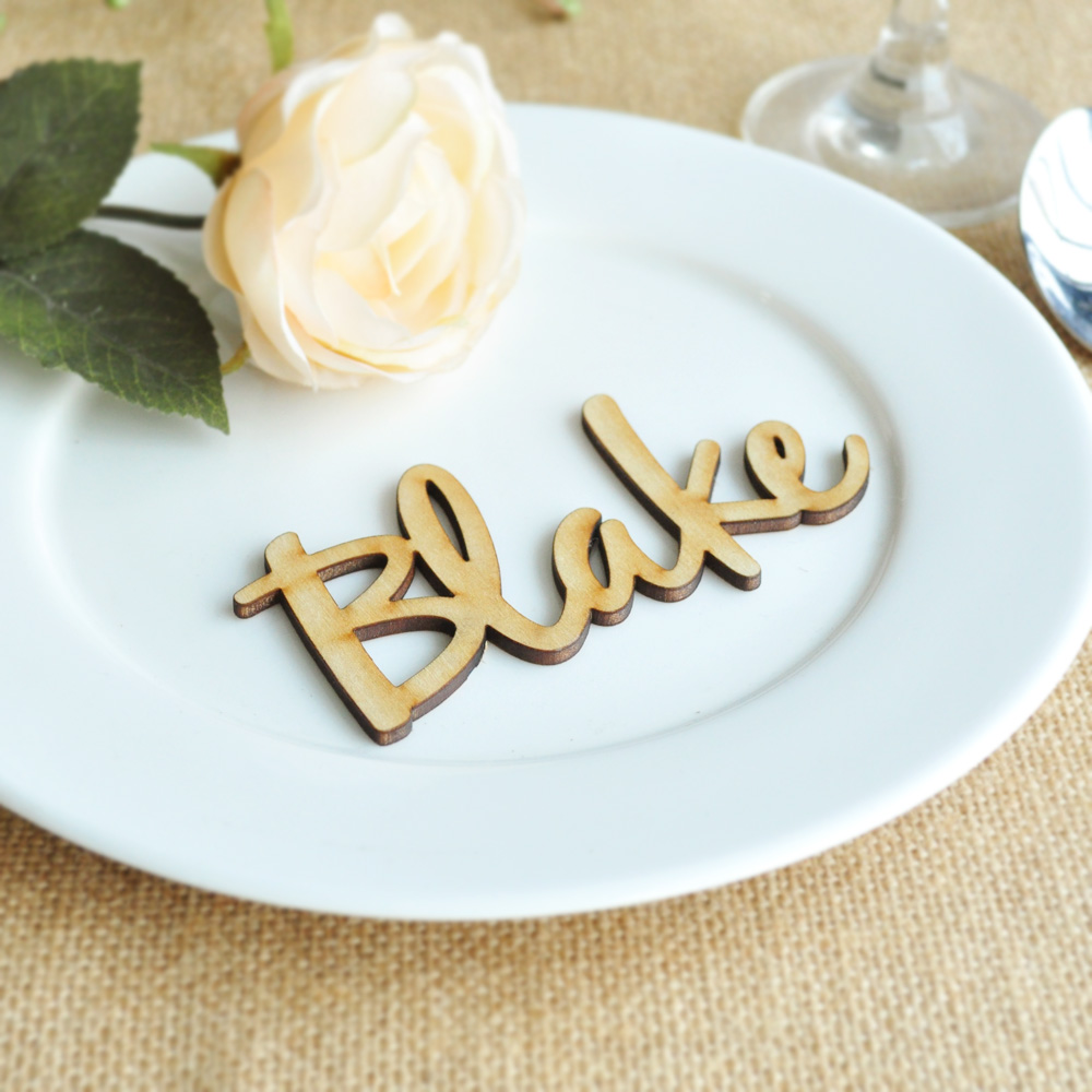 Custom Name Tags Wedding Reception Wood