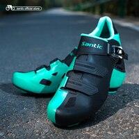 Santic Erkekler Bisiklet Yol Ayakkabı Bisiklet Atletik Yarış Ekibi Bisiklet Ayakkabı Nefes Bisiklet Giysiler Ayakkabı S17002