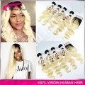 Высочайшее Качество Ombre Бразильский Светлые Волосы 4 шт. с закрытием объемная волна 613 блондинка девственница наращивание волос бесплатная доставка 613 волос