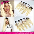Top Quality Ombre Brazilian Blonde Hair 4pcs with closure body wave 613 blonde virgin hair extensions free shipping 613 hair