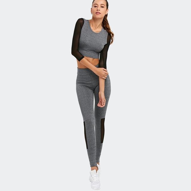 Women Yoga Sets with Long Sleeve, Mesh Patchwork, Elastic Top & Slim Pants