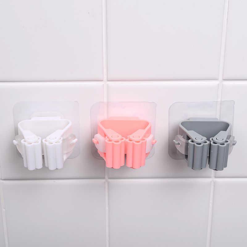 1 Pc Mop Vassoura Mop Titular Organizador Cabide Dobrável Rack de Armazenamento Do Banheiro Rack De Cozinha Ferramenta Ferramentas De Metal Atrás Das Portas/ em Paredes