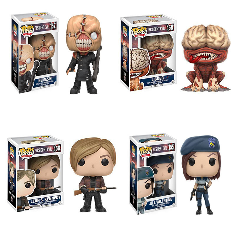 FUNKO POP NEW Resident Evil 10cm NEMESIS,JILL VALENTINE,LICKER Action Figure Collection Model Toys For children birthday Gifts Car phone