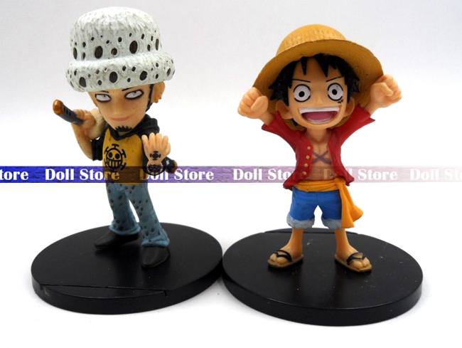 7cm 2PCS/lot PVC Japanese anime figure high quality original <font><b>one</b></font> <font><b>piece</b></font> <font><b>luffy</b></font>&Trafalgar Law action figure set collection kid toys image