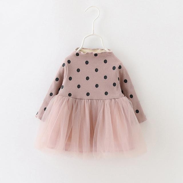 Outono Quente de Manga Comprida Do Bebê Bebês Meninas Crianças Roupas Tutu Polka Dot Lã De Tricô Patchwork Princess Dress Vestidos S4317