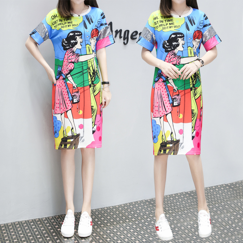 MUMUZI Summer Women Dress Character Cool Cartoon Print O-neck Casual Dresses Package Hip Graffiti Colored Dress Vestidos