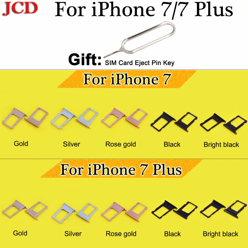 JCD New For iphone7 Nano SIM Card Holder Tray Slot for iphone 7 7 Plus Replacement SIM Card Holder Adapter Socket Accessories