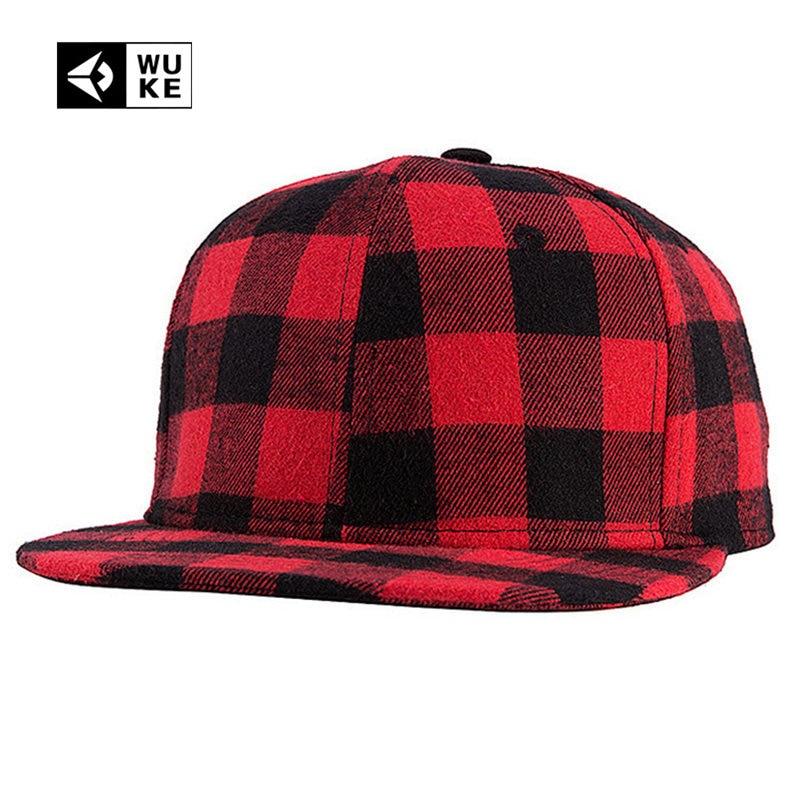 fb98f84a2 2018 New Straight Brim Hip Hop Snapback Caps Men Women Summer Winter Snapback  Baseball Hat Red And Black Plaid Bones 2017 2016