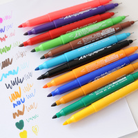 Free Shipping Art Marker Fresh Pure Double Slider Hook Line Pen 12 Colors Box Set Marker