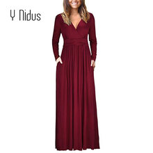 Y Nidus Women s Tunic Dress Sex Autumn   Spring Swing Party Dress Casual  Pocket Long Sleeve 49cb5b59f4ae