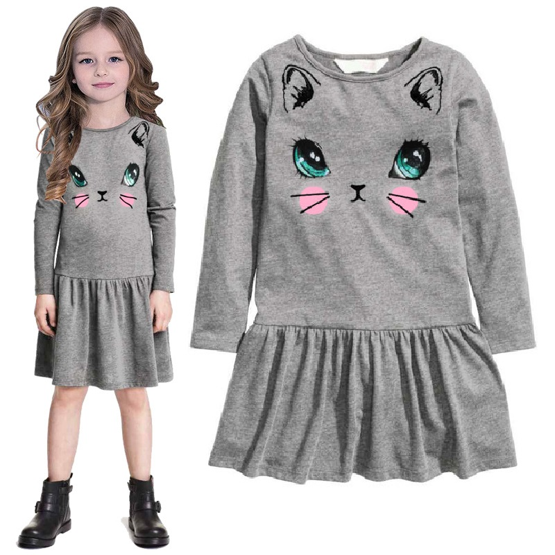 Grey Cat Print Girls Dresses Jumpers Autumn Long Sleeved Girl One Piece Dress Blouses Children Shirts baby girl clothes